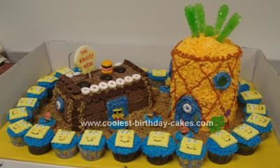 Homemade Spongebob Squarepants Cake: This Spongebob Squarepants Cake is made up of cupcakes with handmade fondant and frosting. The Krusty Krab Cake is a  loaf pan hand-frosted/decorated with