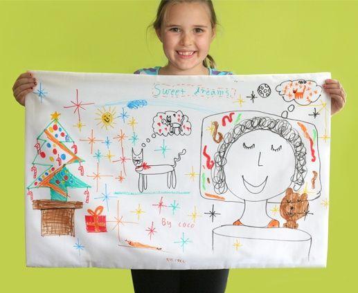 Draw your dreams on a pillowcaseKids Diy, For Kids, Slumber Parties, Art Ideas, Kids Crafts, Parties Activities, Parties Ideas, Sleepover Parties, Kids Art Activities