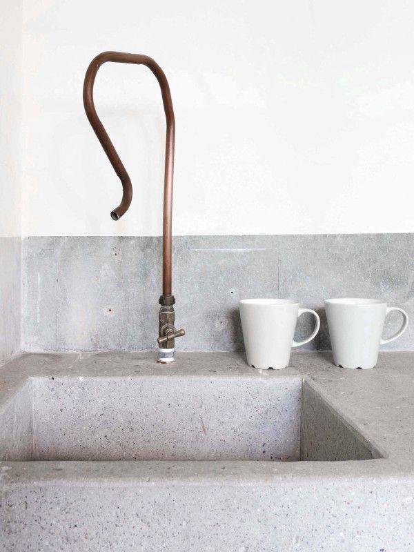 // concrete basin piping tap faucet copper white mugs