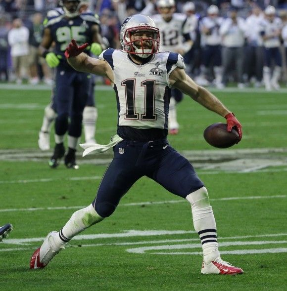 nfl elite drift fashion jersey new england patriots wide receiver julian edelman 11 reacts after catching
