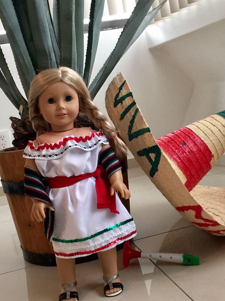 American girl Mexican dress  Muñeca vestida de adelita, American Girl disfraz típico mexicano.