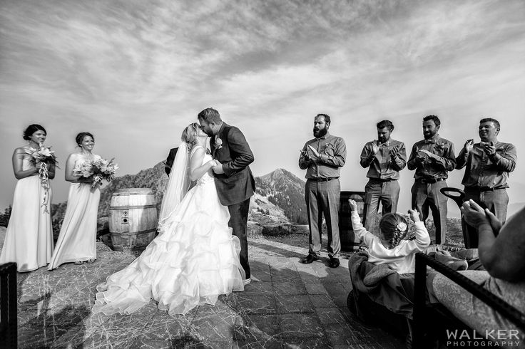 First Kiss in the smokey mountains  Wedding Photography at Kicking Horse Mountain Resort     Walker Photography www.walkerphoto.ca