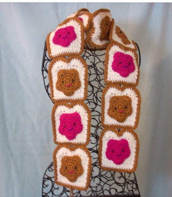 Toast Scarf Crochet Scarf Peanut Butter by KellyzKreationz on Etsy