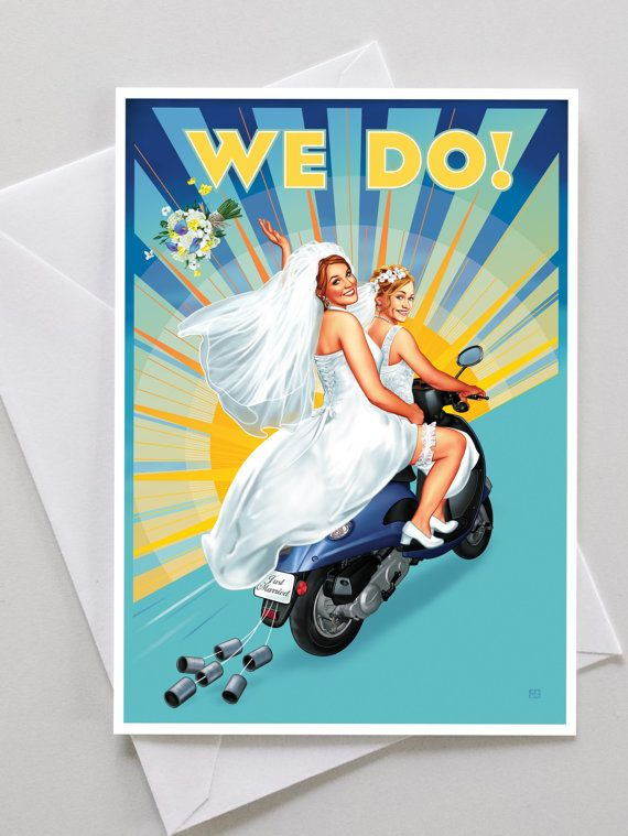 House of Ollichon loves...Gay and Lesbian Congratulations Wedding Engagement Card! #LesbianWedding #SameSexWedding #AlternativeWedding