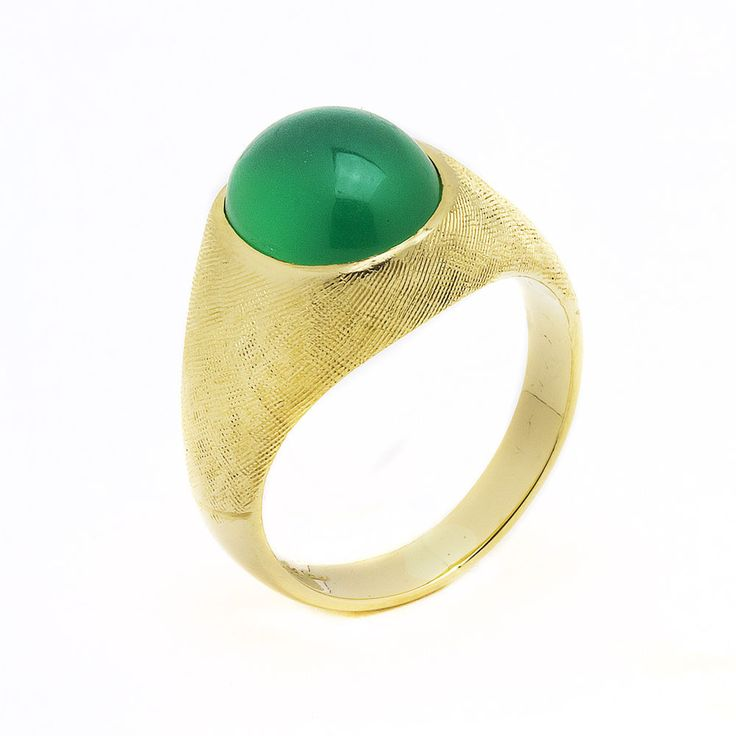 14k Yellow Gold Green Onyx Mens Ring  Size 8.5   100% REAL #UniQJewels #Solitaire