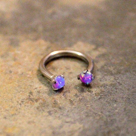 Purple Opal Fire Hoop 16G, Lip Ring, Cartilage, Septum, Helix, Nipple, Belly, Eyebrow, Tragus, Rook, Horseshoe Barbell, Custom Ring 16G 14G