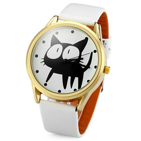 JUBAOLI 2108 Quartz Watch 12 Dots Indicate Cat Pattern Circular Dial and Artificial Leather Watchband