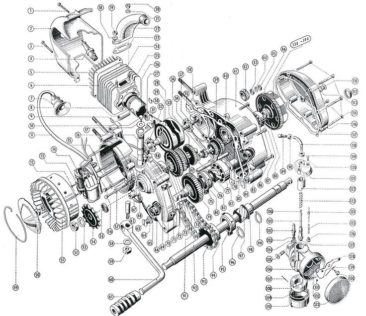 Ea C E B B F Fd Vintage Racing Vintage Auto on Car Engine Exploded View