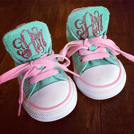 GLITTER MONOGRAM Baby Toddler Kids Chuck by SweetGeorgiaDesigns