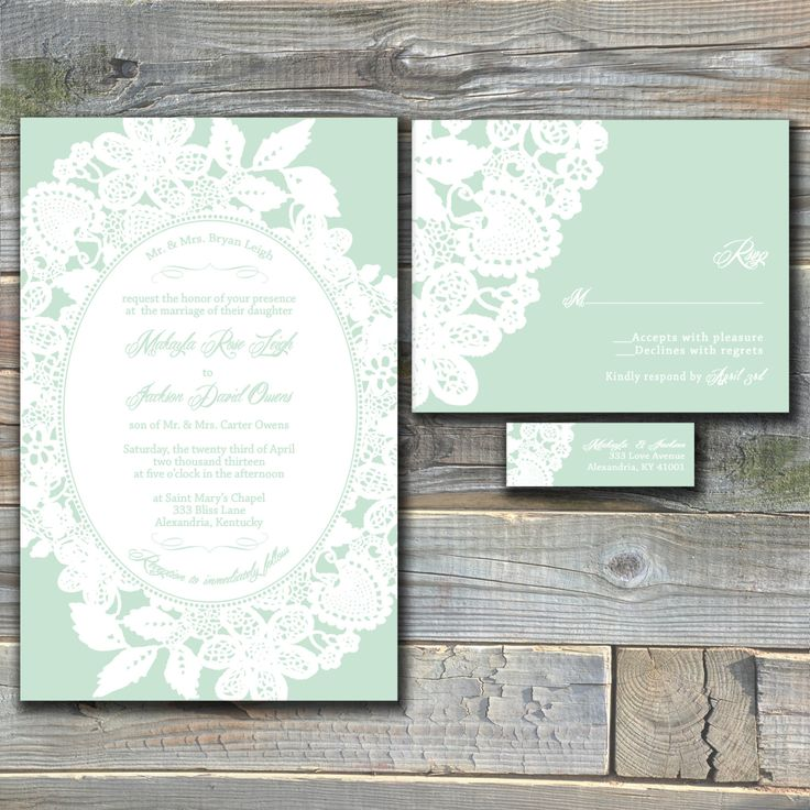 vintage mint wedding invitations