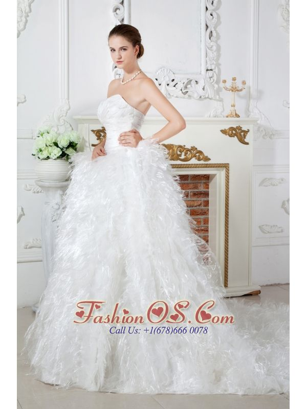 Discount A-line Sweetheart Ruch and Beading Feather Wedding Dress Chapel Train Satin  http://www.facebook.com/quinceaneradress.fashionos.us  www.fashionos.com  Lovely sweetheart bodice encrusted with delicate ruching and scattered lines of crystal will show offer your slim waistline. The A-line skirt covered with ruffles in organza and noble feather creates a full bottom makes it distinctive. The court train and the exquisite lace up closure on the back completes the fantastic design.