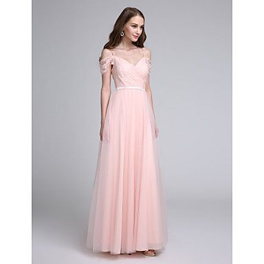 2017 Lanting Bride® Floor-length Lace / Tulle Bridesmaid Dress - A-line Spaghetti Straps with Lace / Sash / Ribbon - USD $ 71.99