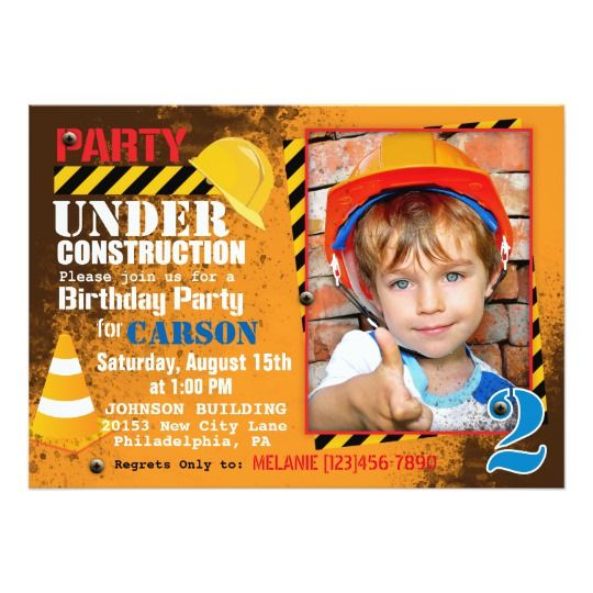 Invitation de fête d'anniversaire de chantier de | Zazzle ...