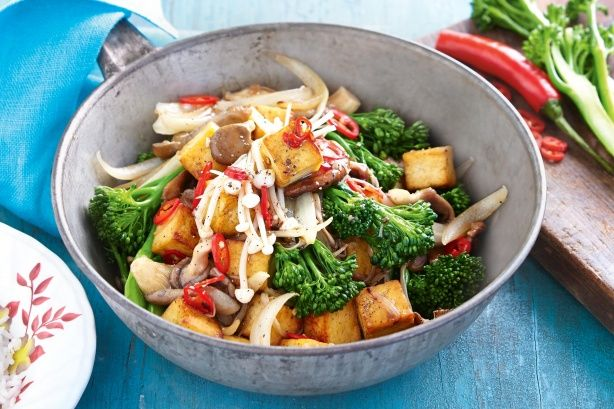 This low fat stir-fry combines tofu with beautiful mixed mushrooms.