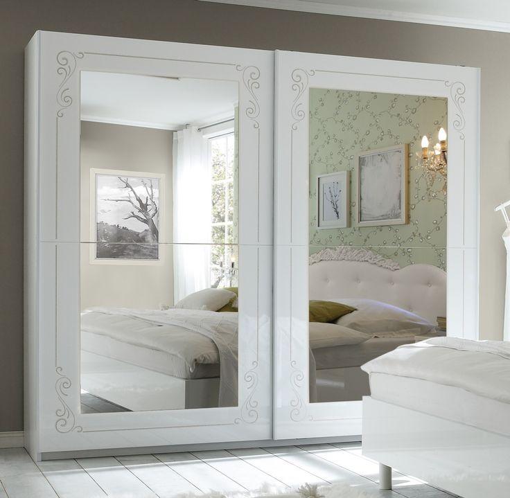 Armadio 2 ante scorrevoli specchio design moderno classico romantico camera da letto