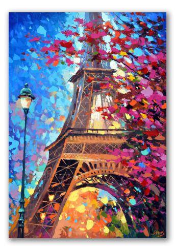 """""""París en primavera"""" - Torre Eiffel envuelta en una lluvia de colores, una farola, cielo, árbol en flor y luces de la ciudad.  Un óleo romántico, realizado con líneas y manchas gruesas. Homenaje a las tardes parisinas primaverales."""