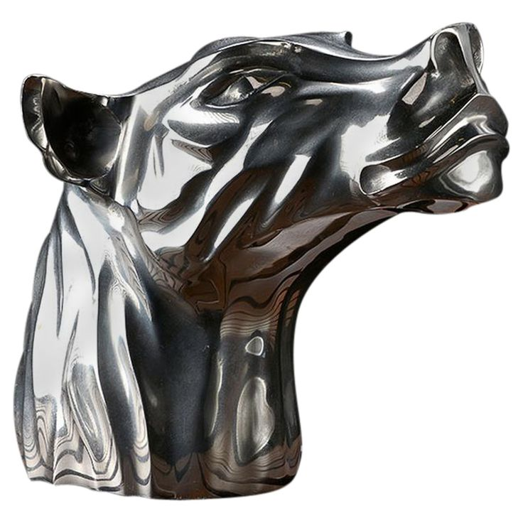 Vintage French Chrome Panther Head | From a unique collection of antique and modern sculptures at https://www.1stdibs.com/furniture/decorative-objects/sculptures/