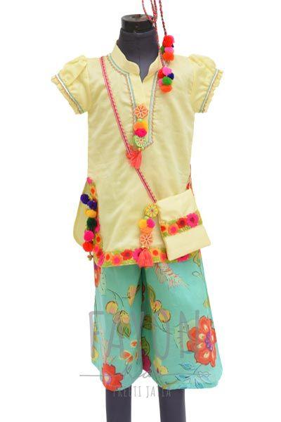 Yellow Kurta with Printed Sharara, Sharara Set, Baby clothes online, Kids clothing online, online shopping for kids, Printed Sharara set for cute girl.