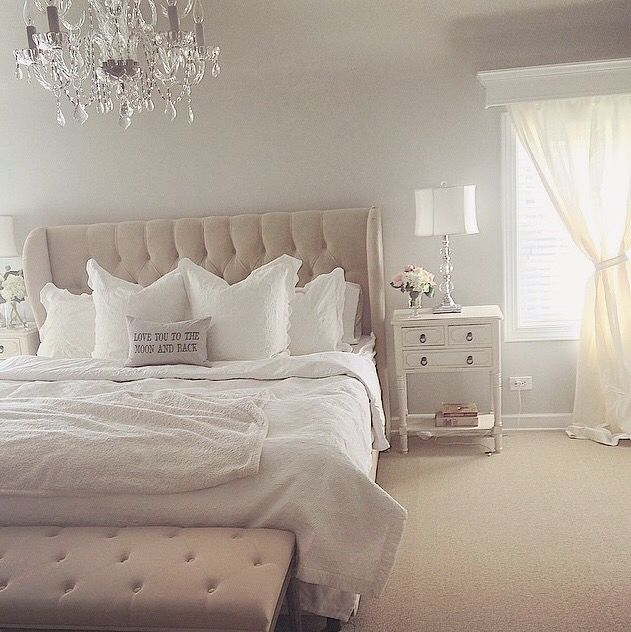 A Little Too Monochromatic For Me But I Really Like The Blend Of Glamorous And Shabby Chic Masterbedroom Bedroom Whitebedroom Retreat In 2018