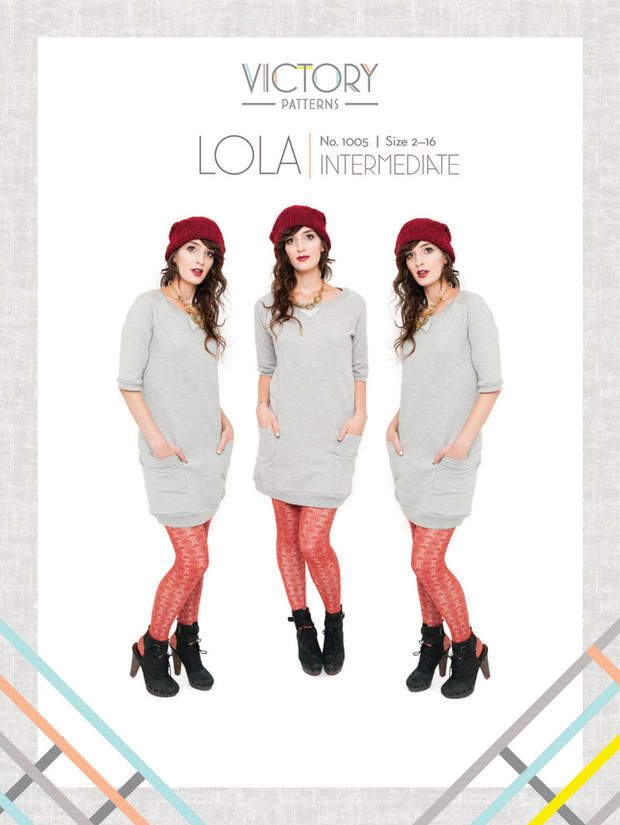 Lola is a spin off of the classic crew neck sweater. This comfortable slip on dress features raglan sleeves, ribbed hem bands, front necklin...