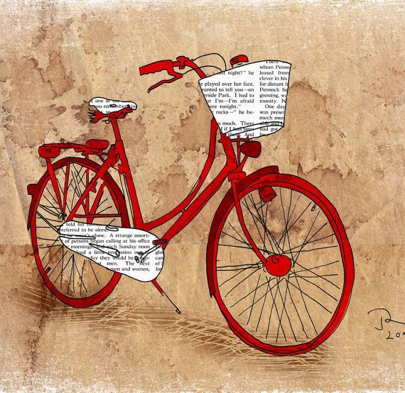 Red book print bicycle.