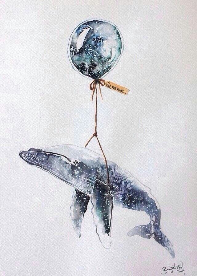 #акварель #рисунок #воздушныйшар #кит