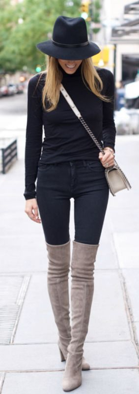 "Neutral coloured over the knee boots will look great paired with an all black outfit. Via Lisa D Cahue.  Turtleneck: Velvet, Jeans: DL 1961, Hat: Rag & Bone, Boots: Stuart Weitzman ""Highland""."