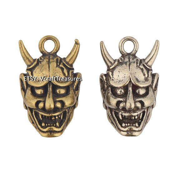 Brass Conchos Screw Back Leather Crafting Concho Hannya Evil Concho 2pcs Silver