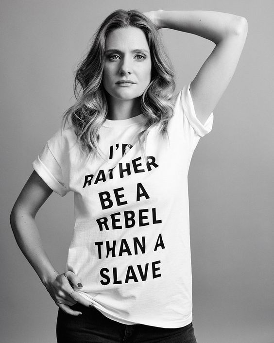 Romola Garai, black and white, I'd rather be a rebel than a slave http://RomolaGarai.org