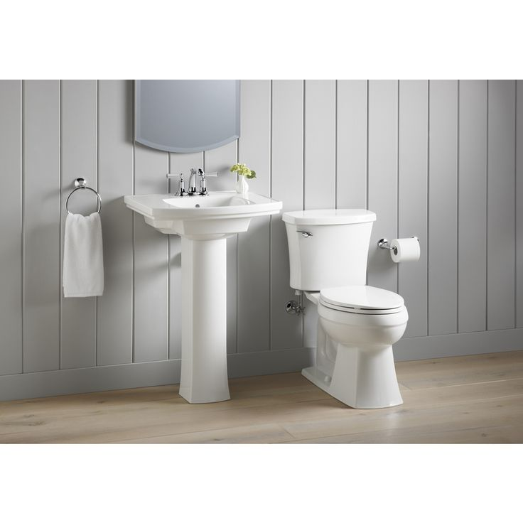 Shop KOHLER Elliston White 1.28-GPF (4.85-LPF) 12 Rough-In WaterSense Elongated 2-Piece Comfort Height Toilet at Lowes.com