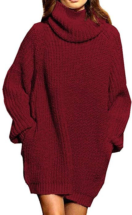 Women s Loose Turtleneck Oversize Long Pullover Sweater Dress Wine Red L at  Amazon Women s Clothing store  7f73019f8