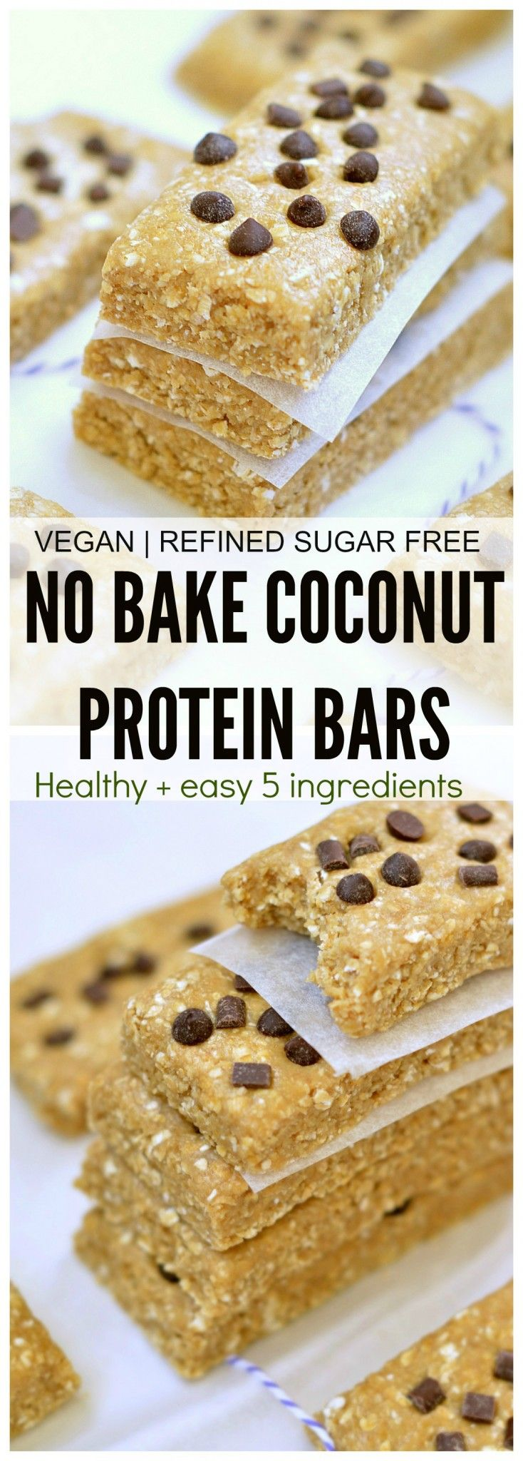 Healthy 5 ingredient no bake coconut protein bars. Less than 10 minutes, No refined sugar, no egg, no dairy, no oil, no flour.