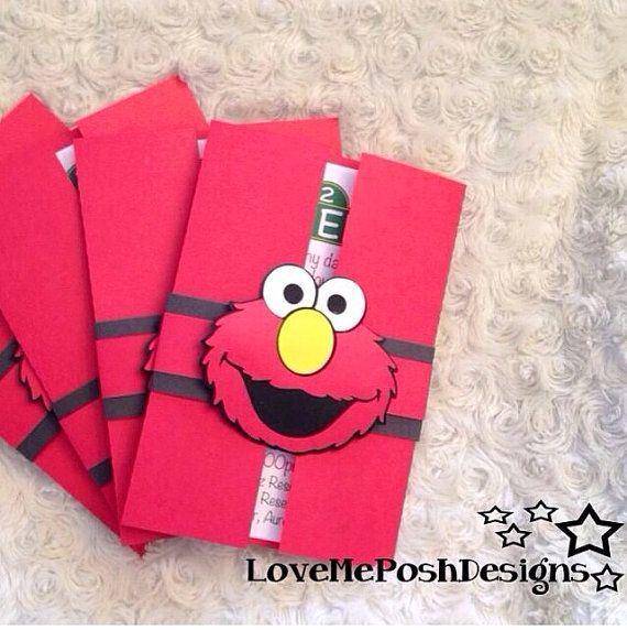 10 pieces Elmo inspired birthday invitations by LoveMePosh on Etsy