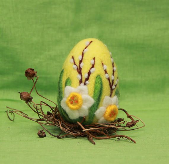 Needle felted Easter egg is about 3.5 (8 cm) tall. Easter egg is handmade with love from 100% merino wool. This needle felted Easter egg is not the one you will get. Every egg is made to order, one of a kind but made as close to the one on the photos as possible. Wool Easter egg #needlefelted