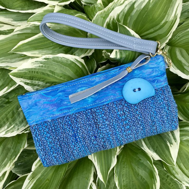 Clutch Wristlet Evening Bag Small Purse Trendy Modern Style Detachable Leather Strap Jewel tone Deep Sky Blue Chunky Button Gift for Her by SkyPathDesign on Etsy