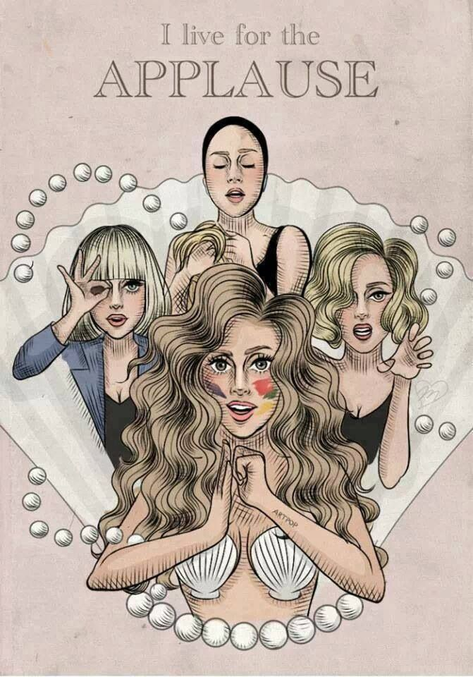 """Lady Gaga Applause"" Art by Helen Green✏ #Celebrity #Celebrities #FanArt"