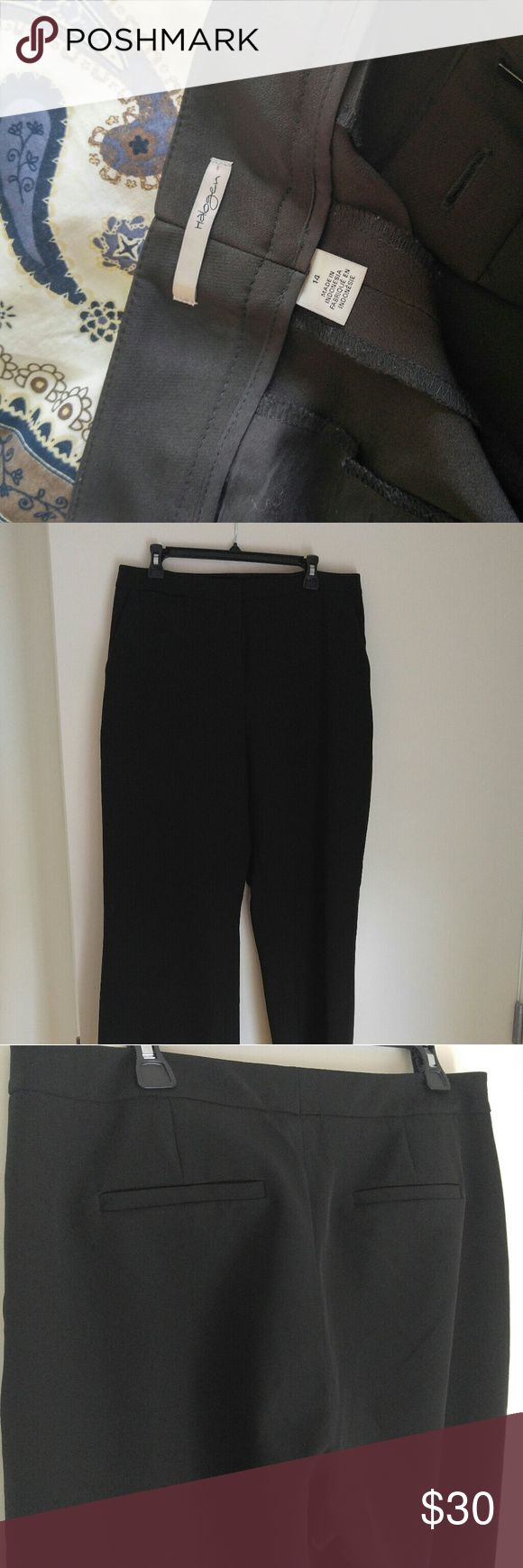 """Halogen wide leg trousers - TALL 34.5"""" inseam, perfect condition since I wore them once to an interview. No lining but has nice fabric that is totally non-iron.   All five pockets are real pockets (what? Working pockets for ladies? What madness is this?) but they're still sewn shut bc again, I barely wore them.   I did keto and lost weight and now they're too big! Get these gorgeous pants today! Halogen Pants Trousers"""