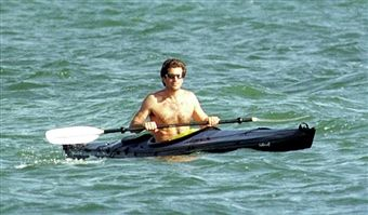 John F. Kennedy Jr. kayaks August 24, 1997 in the waters off Hyannisport, MA. July 16, 2000 marks the one-year anniversary that Kennedy Jr., 38, died in a plane crash off the coast of Martha's Vineyard with his wife Carolyn Bessette Kennedy, and her sister Lauren Bessette.
