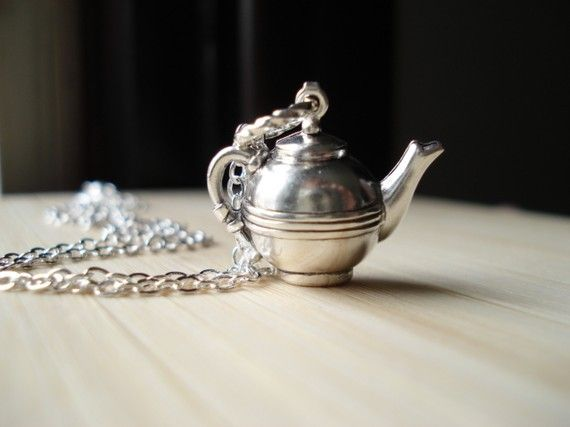 Teapot Necklace, Vintage Silver Pendant, Tea Charm Necklace, Tea Pot, Geekery, Whimsical Jewelry via Etsy  how cute is a teapot necklace!