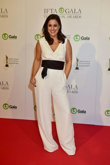 Ivory jumpsuit with black obi by Geraldine O'Meara designs, worn by Lucy Kennedy at the IFTAs