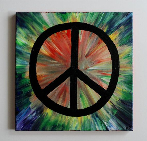 Handmade, colorful, rainbow, acrylic painting of a peace sign on a 12x12 canvas with red edges.