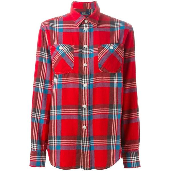 Polo Ralph Lauren Plaid Shirt ($123) ❤ liked on Polyvore featuring tops, red, plaid shirts, colorful shirts, multi colored plaid shirt, red cotton shirt and red tartan shirt