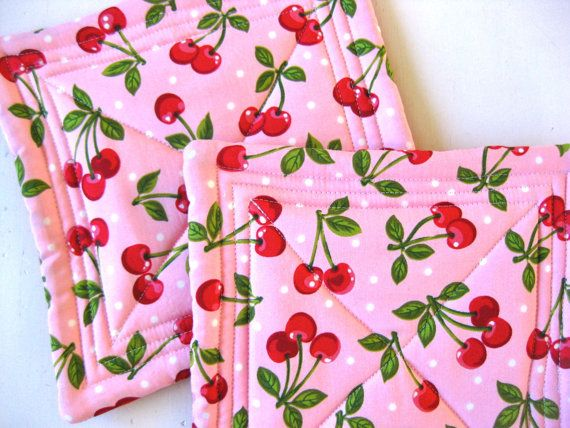 Cherry Red Quilted Potholders Pot Holders Hotpads