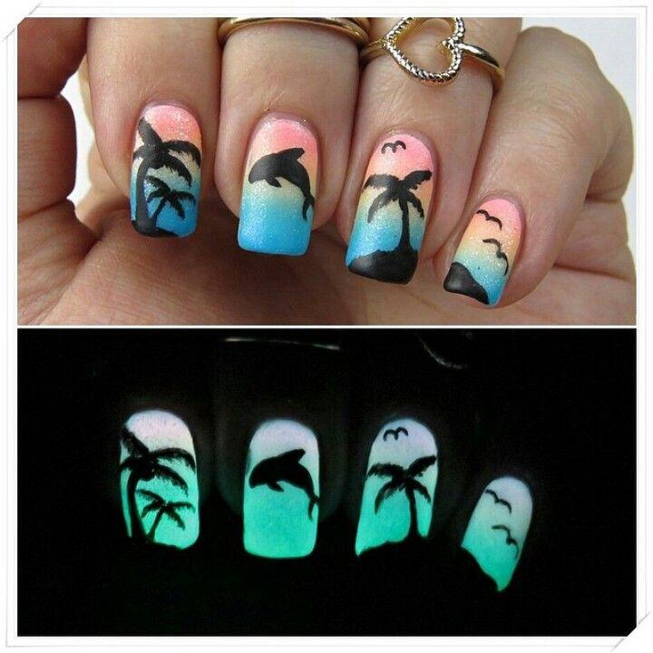 Tropical island nail art, dolphin, glow in the dark