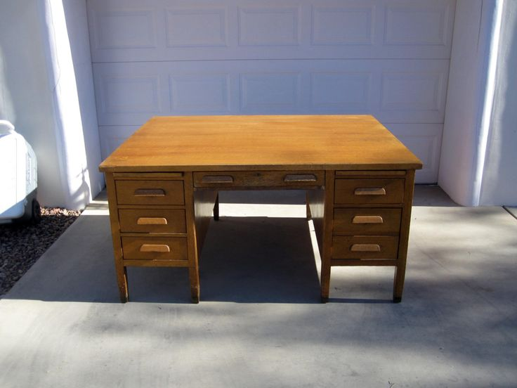 Antique Art and Crafts, Mission Style Oak Partners Desk