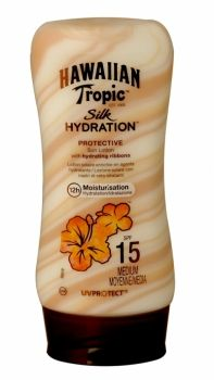 Hawaiian Tropic Silk Hydration Protective Sun Lotion 180 Ml Spf 15 Introducing the new sunscreen lotion from Hawaiian Tropics, the only sunscreen with hydrating ribbons for continuous in-sun moisture. With its ultra-luxurious hydrating silk ribbons, Hawaiian Tropic Silk Hydration™ lotion sunscreen nourishes and pampers skin while providing broad spectrum UVA and UVB protection and 12-hour moisturization when out in the sun
