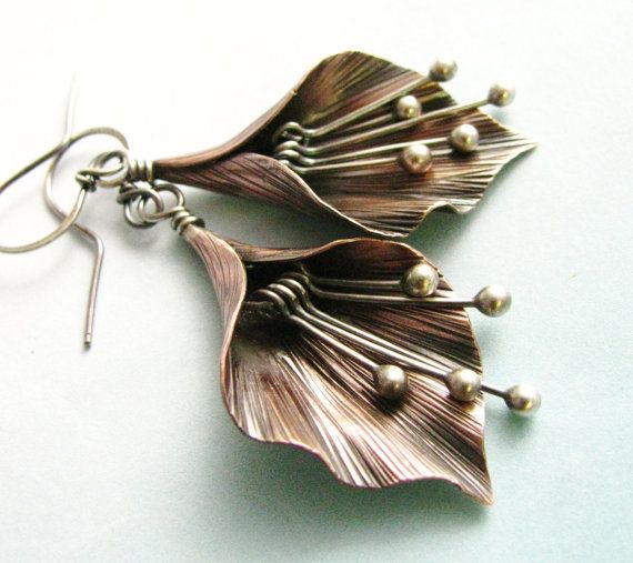 Metal Lily Flower Earrings - Argentium Sterling Silver And Copper Earrings Handcrafted Artisan Copper Jewelry