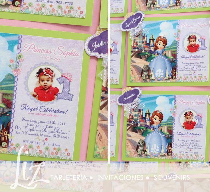 Invitaciones para el 1er. Cumple de la Princess Sophia / invitations - cards / Princesita Sofía tarjeteria / Sofia The First theme / Birthday cards / Party / hand made / hecho a mano