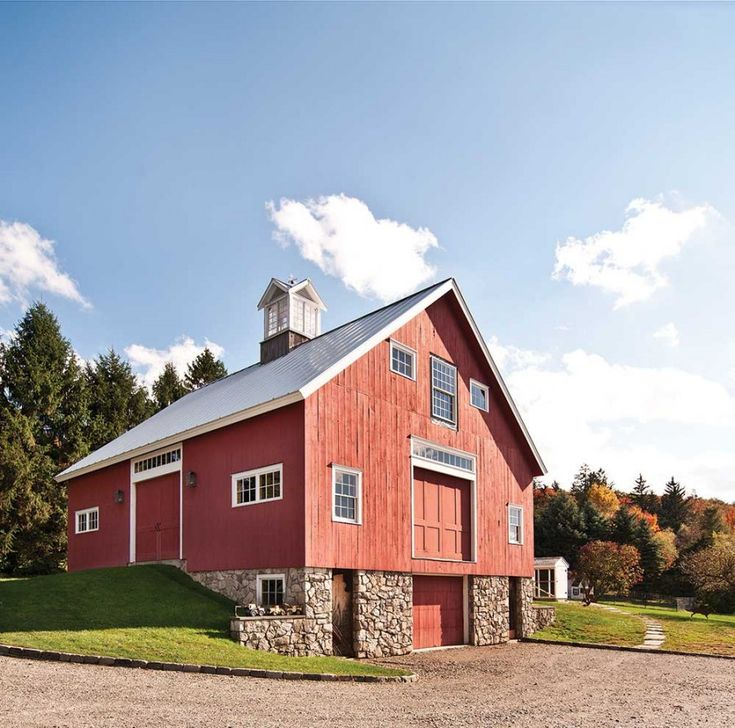 Old Fashioned Red Barn Stone Foundation Metal Roof