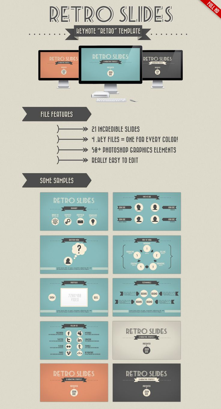 Retro Slides - Keynote and PowerPoint Template by pacovitiello on deviantART